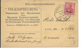 Zivilarbeiterpostkarten - 'Voksopbeuring' Gent, Gebruikt - Guerre 14-18