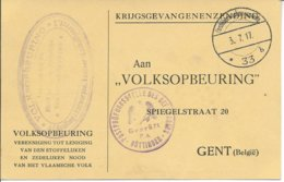 Krijgsgevangenenzending (bericht Van Ontvangst) Van Göttingen (censuur) Naar Gent - WW I