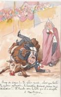 CPA Peinte à La Main Caricature Satirique Politique Démission De BRIAND Corrida Illustrateur BOBB  (2 Scans) - Satirische