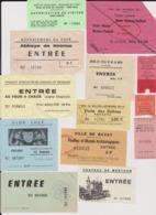 Lot 20 Tickets Visites Sites Touristiques Musée Piscine Abbayes Etc...  Différentes Régions De France - Tickets - Entradas