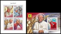 CENTRAL AFRICAN ZENTRAFRIKANISCHE REPUBLIK 2018 POPE JOHN PAUL II ** MS+SS - Popes