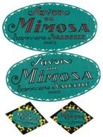 4 Etiquettes De SAVON - Bath, Soap - Savonnerie De VALBELLE, Paris - Savon Au Mimosa - Beauty Products