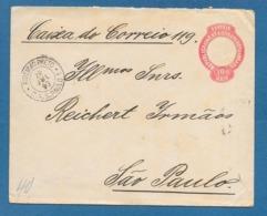 1893 100 REIS ENTIER POSTALE RIBEIRAO PRETO TO SAO PAULO - Entiers Postaux