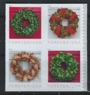USA. Scott # 5424-27a, MNH Pane Of 4 From Booklet. Holiday Wreaths 2019 - Estados Unidos