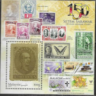 MALAYSIA, 2019, MNH,STAMPS OM STAMPS, 150 YEARS OF SARAWAK STAMPS, BUTTERFLIES, S/SHEET - Stamps On Stamps