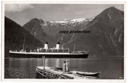 Schiff M.S. Monte Olivia Im Sognefjord, Norge, Sogn, Deutsche Schiffspost 1935 - Paquebots