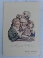 CARTE MENU ANCIENNE Restaurant PRUNIER PARIS Illustrée Les Mangeurs D' Huitres ILLUSTRATEUR L BOILLY Publicité - Künstlerkarten