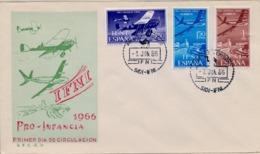 1966 IFNI , SOBRE DE PRIMER DIA  , ED. 218 / 220 , PRO INFANCIA ,  AVIONES , AVIACIÓN - Ifni