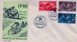 1964 IFNI , SOBRE DE PRIMER DIA  , ED. 206 / 208 , DIA DEL SELLO , DEPORTES , CICLISMO , MOTOS , MOTOCICLISMO - Ifni