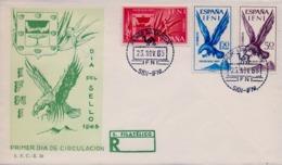 1965 IFNI , SOBRE DE PRIMER DIA  , ED. 215 / 217 , DIA DEL SELLO , ESCUDO , ÁGUILA , BIRD OF PREY - Ifni