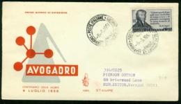 Fd Italy FDC 1956 MiNr 972 | Death Centenary Of Avogadro (physicist) - 6. 1946-.. Republic