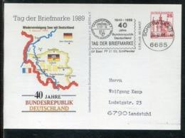 """Bundesrepublik Deutschland / 1989 / Privatpostkarte """"Wiedervereinigung Saar M. Deutschland"""" Masch.-o Schiffweiler (1490) - BRD"""