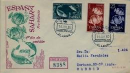 1962 SAHARA ESPAÑOL  , SOBRE DE PRIMER DIA CIRCULADO  , ED. 209 / 211 , PRO INFANCIA , PECES , FISH - Spanische Sahara