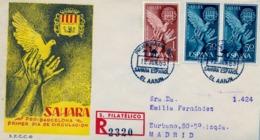 1963 SAHARA ESPAÑOL  , SOBRE DE PRIMER DIA CIRCULADO  , ED. 220 / 221  , AYUDA A BARCELONA - Spanische Sahara