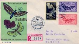 1964 SAHARA ESPAÑOL  , SOBRE DE PRIMER DIA CIRCULADO  , ED. 225 / 227  , PRO INFANCIA , MARIPOSAS , BUTTERFLY - Sahara Spagnolo