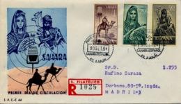 1964 SAHARA ESPAÑOL  , SOBRE DE PRIMER DIA CIRCULADO  , ED. 229 / 231 , MÚSICOS INDÍGENAS , SERIE CORTA - Spanische Sahara