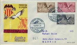 1958 SAHARA ESPAÑOL  , SOBRE DE PRIMER DIA CIRCULADO  , ED. 146 / 148 , AYUDA A VALENCIA - Sahara Espagnol