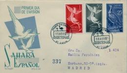 1958 SAHARA ESPAÑOL  , SOBRE DE PRIMER DIA CIRCULADO  , ED. 180 / 181 - 183 , AVES , BIRDS , SERIE CORTA - Sahara Spagnolo