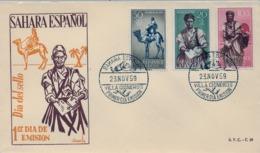 1959 SAHARA ESPAÑOL  , SOBRE DE PRIMER DIA  , ED. 169 / 171 , DIA DEL SELLO, CARTEROS , CORREO - Sahara Español