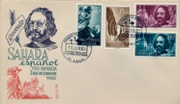 1960 SAHARA ESPAÑOL  , SOBRE DE PRIMER DIA  , ED. 172 / 175 , PRO INFANCIA , QUEVEDO - Sahara Español