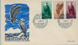 1957 SAHARA ESPAÑOL  , SOBRE DE PRIMER DIA  , ED. 139 / 141 , PRO INFANCIA , AVES , BIRD OF PREY , ÁGUILA - Sahara Español