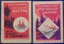 Russia  Matchbox Labels 1961,Take Care Of Forest 2V. - Zündholzschachteln