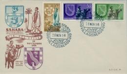 1956 SAHARA ESPAÑOL  , SOBRE DE PRIMER DIA  , ED. 130 / 132 , DIA DEL SELLO , ESCUDOS DE VILLA CISNEROS Y EL AAIUN - Sahara Español