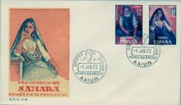 1957 SAHARA ESPAÑOL  , SOBRE DE PRIMER DIA  , ED. 306 / 307 , PRO INFANCIA , PINTURA , ARTE - Sahara Español