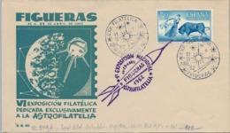 1962 FIGUERAS , VI EXPO ASTROFILATELIA , SOBRE CON MATASELLOS CONMEMORATIVO , ESPACIO , SPACE - 1931-Hoy: 2ª República - ... Juan Carlos I