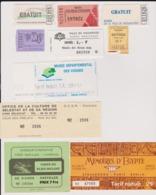 Lot 10 Tickets Visites Sites Touristiques Musées Abbayes Etc...  Région ALSACE LORRAINE Essentiellement - Tickets - Entradas