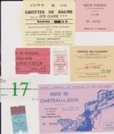 Lot 17 Tickets Visites Sites Touristiques Musées Abbayes Grottes Etc...  Région CENTRE EST Et EST France Essentiellement - Tickets - Entradas