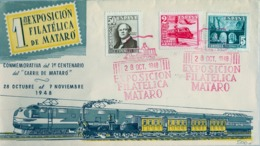 1948 , ED. 1037 / 1039 , 1ª EXPOSICIÓN FILATÉLICA DE MATARÓ , CENTENARIO DEL FERROCARRIL , SOBRE CON MAT. ESPECIAL - 1931-50 Lettres