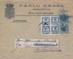 MALAGA - SOBRE CIRCULADO A ALEMANIA ,  ED. 213 PAREJA , ED. 173 CON DENTADO PRIVADO , PABLO GAGEL EXPORTADOR DE VINO - 1889-1931 Reino: Alfonso XIII