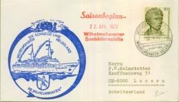 ALEMANIA , CORREO MARÍTIMO , SEA MAIL , SCHIFF POST , 1972 , WILHELMSHAVEN - HELGOLAND , SAISONBEGINN - Barcos