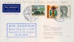 ALEMANIA 1972 , PRIMER VUELO , AIR ALGERIE , FRANKFURT - ALGIER , AVIONES ,AVIACIÓN - Aviones
