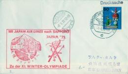 1972 , ALEMANIA , PRIMER VUELO , FRANKFURT - OLYMPIC VILLAGE SAPPORO ( JAPÓN ) , JAPAN AIR LINES , WINTER OLYMPIADE - Aviones