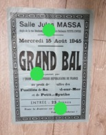 1945 Affiche Bal Au Profit Des Familles Des Fusillés De La Guerre 40/45  De Saint-Pol-sur-Mer & Petite-Synthe  Dunkerque - Affiches