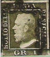 Regno Di Due Sicilia 1859: Fernando II GR 1 Oliva-verde Michel-No. 2c Con Obliterazione Ideale (catalogo 200.00 Euro ) - Sicilia