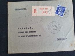 PARIS 123 Sur RECOMMANDE 22 Septembre 1945 - Gandon YT 720 - Marcophilie (Lettres)