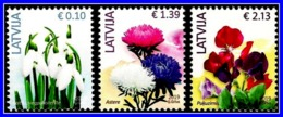 Latvia Lettland Lettonie 2019 Reprint  - Flowers - 3 Different Stamps - MNH - Lettland