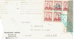 Espagne Lettre Avec N° 504 X 5 Et Marque De Censure 1938 - 1931-50 Briefe U. Dokumente