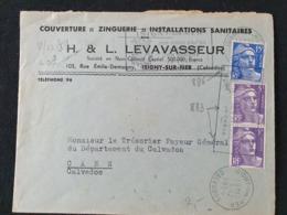 ISIGNY SUR MER - 1er Décembre 1954 - Calvados - Gandon YT 886 883 - Couverture Zinguerie - Postmark Collection (Covers)