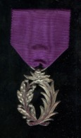 Médaille Palmes Académiques IIIème République Argent émaillée Rouge - Très Bon état - Militari