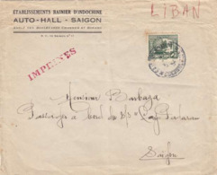 ♦  -   LETTRE ÉTABLISSEMENTS. BAIGNIER D'INDOCHINE _ AUTO- HALL SAÏGON - Indochina (1889-1945)