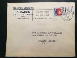 Loire. Enveloppe Avec Obliteration De Roanne - Postmark Collection (Covers)