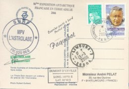 """TAAF - Dumont D'Urville-T.Adélie: Carte Postale """"L'Astrobale"""" Avec Timbres France N°3345 PE Victor Et 3445 - 04/02/2006 - Franse Zuidelijke En Antarctische Gebieden (TAAF)"""