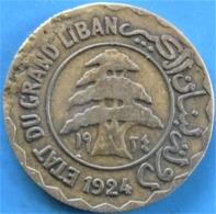 LIBAN, 3ème République, 2 Piastres Syriennes Cèdre Du Liban, 1924 Paris, TTB - Libano