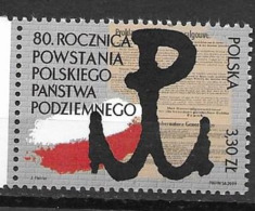 POLAND, 2019, MNH, 80th ANNIVERSARY OF CREATION OF THE POLISH UNDERGROUND STATE,1v - Otros
