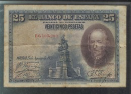Billet 25 Pesetas 15-8-1928 De La Barca - [ 2] 1931-1936 : Repubblica