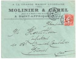 Saint AFFRIQUE Aveyron Lettre Entête MOLINIER CAREL 10 C Semeuse Yv 138 Ob 1908 Type 84 - Francia